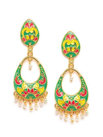 Green and Yellow Meenakari Dangle Earrings