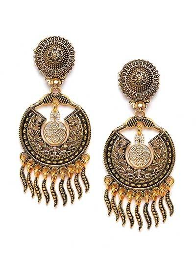 Lightweight Floral Golden Ethnic Dangle Earrings
