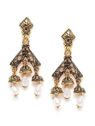 Short Floral Golden Dangle Earrings