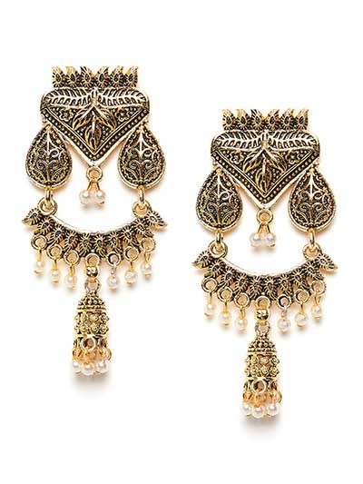 Floral Golden Ethnic Dangle Earrings With Pearls