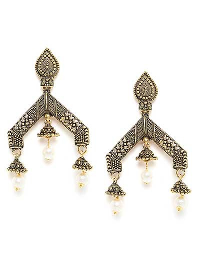 Artistic Golden Dangle Earrings