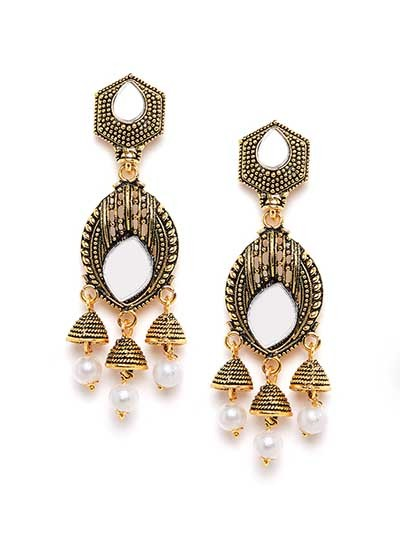 Long Golden Mirror Dangle Earrings With Pearls