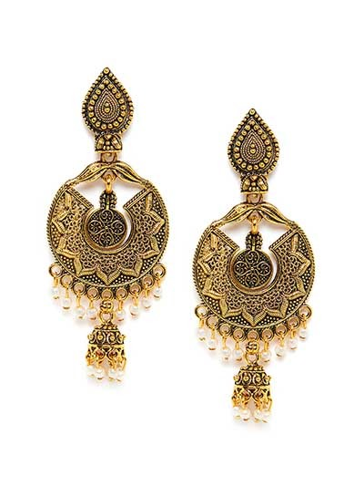 Golden Surya Ethnic Dangle Earrings
