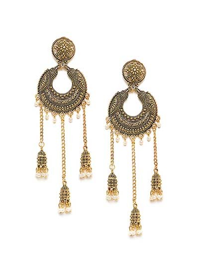 Classic Golden Kashmiri Dangle Earrings