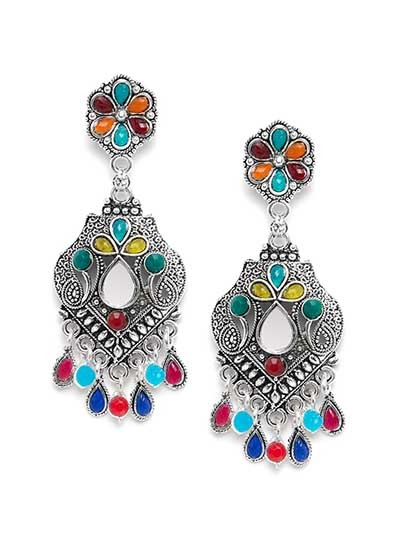 Floral Multicolored Oxidized Silver Mirror Earrings