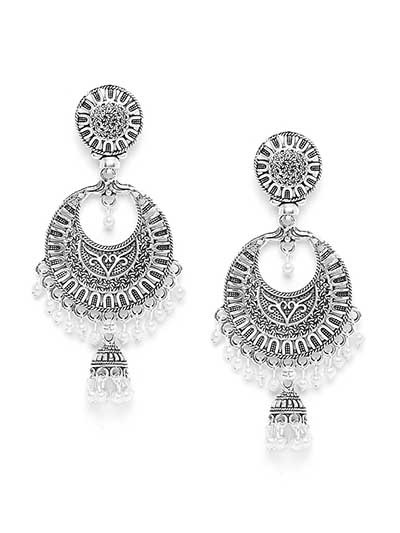 Chandbali Oxidized Silver Earrings