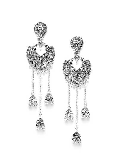 Long Oxidized Silver Kashmiri Earrings