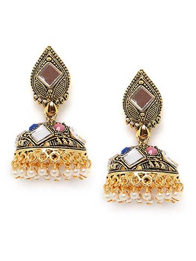 Golden Ethnic Mirror Jhumkas