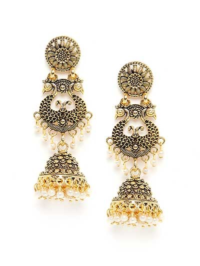 Long Golden Peacock Ethnic Jhumkas With Floral Motifs
