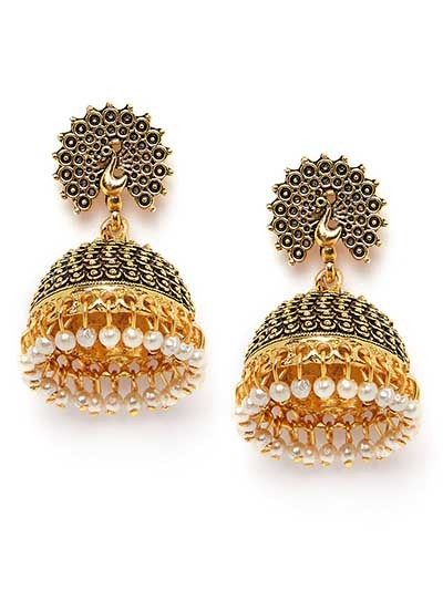 Golden Peacock Jhumkas With Pearls
