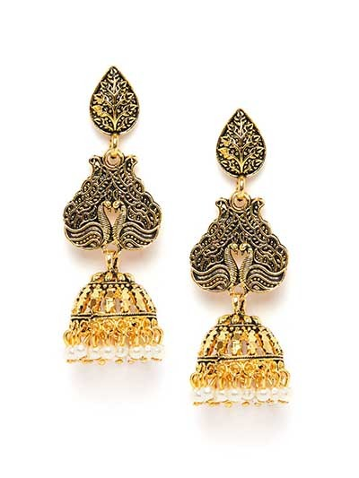 Long Golden Peacock Ethnic Jhumkas