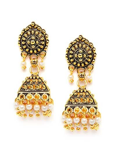 Bell Shaped Golden Ethnic Short Jhumkas
