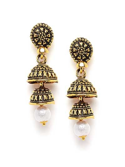 Golden Layered Short Ethnic Jhumkas