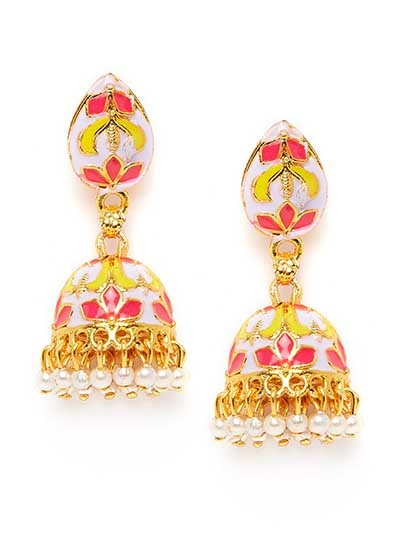 Pink and Lavender Short Meenakari Jhumkas