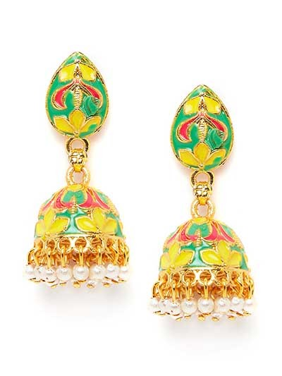 Floral Multicolored Short Meenakari Jhumkas