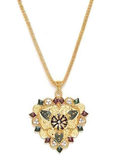 Golden Heart Ethnic Pendant Necklace with Green and Red Floral Motifs