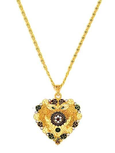Golden Ethnic Pendant Necklace For Women