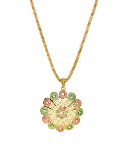 Multicolored Flower Ethnic Pendant Necklace