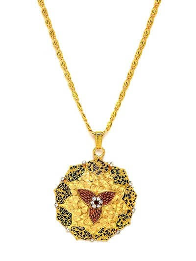 Embellished Golden Ethnic Pendant Necklace