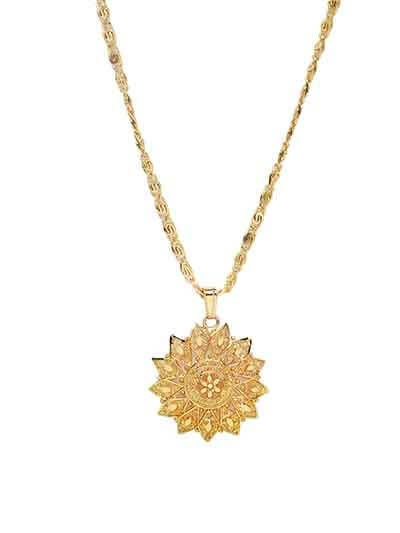 Lightweight Golden Flower Ethnic Pendant Necklace
