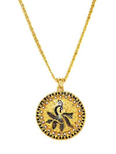 Golden Peacock Ethnic Pendant Necklace