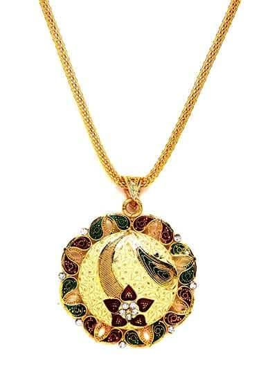 Lightweight Golden Flower Ethnic Pendant Necklace