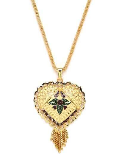 Golden Heart Ethnic Pendant Necklace with Leafy Motifs