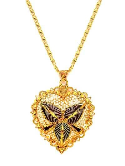 Golden Ethnic Pendant Necklace For Women With Leaf Motifs