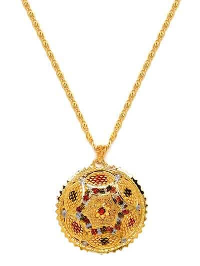Golden Circular Ethnic Pendant Necklace with Red Floral Motifs