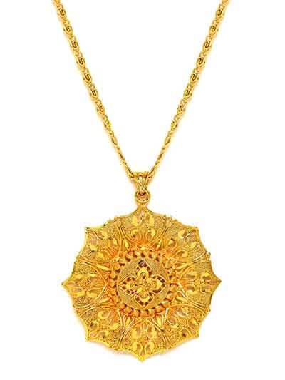 Golden Chunky Ethnic Pendant Necklace