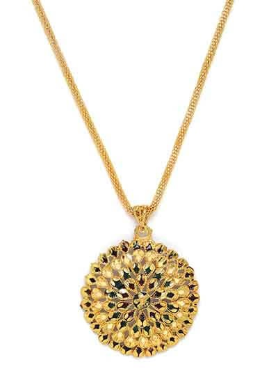 Clustered Golden Ethnic Pendant Necklace