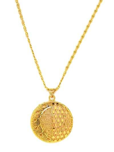 Designer Golden Ethnic Pendant Necklace