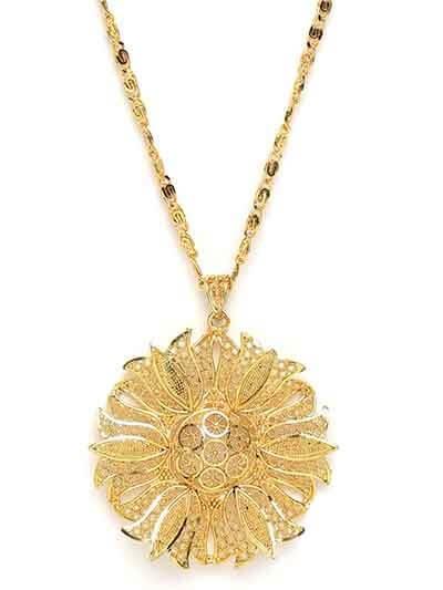Golden Lotus Ethnic Pendant Necklace