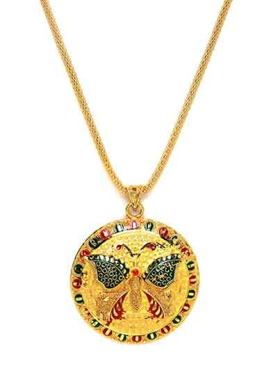 Golden Butterfly Ethnic Pendant Necklace