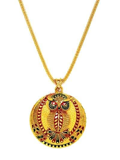 Multicolored Owl Ethnic Pendant Necklace