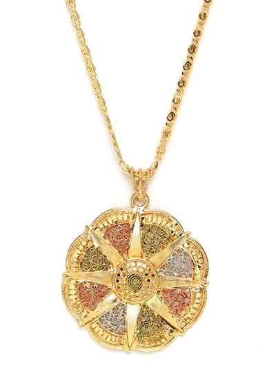 Multicolored Ethnic Pendant Necklace with Designer Motifs