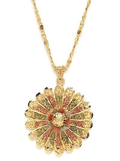Multicolored Flower Ethnic Pendant Necklace with Designer Motifs