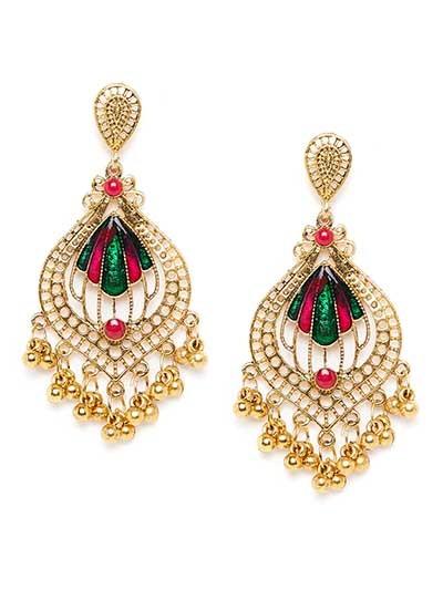 Lightweight Golden Ethnic Earrings
