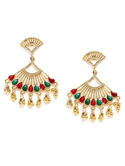 Golden Ethnic Earrings With Red and Green Stones