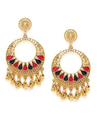 Round Golden Ethnic Earrings With Red and Blue Stones