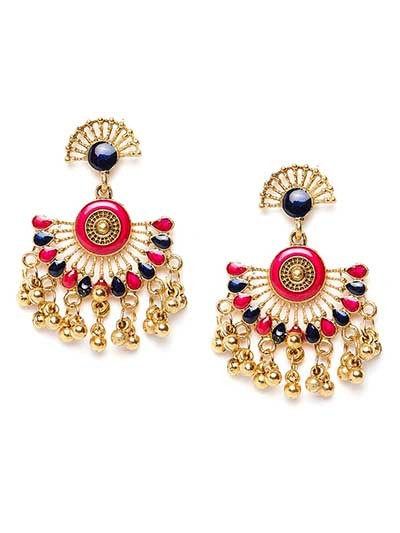 Golden Ethnic Earrings With Red and Black Stones