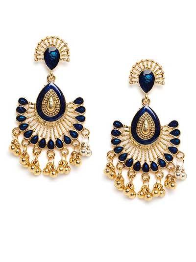 Golden and Blue Ethnic Dangle Earrings