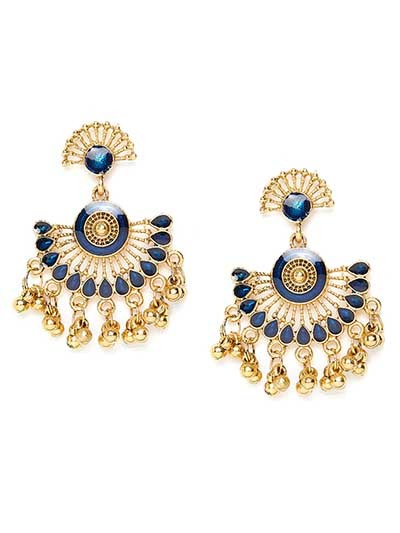 Lightweight Golden and Blue Ethnic Dangle Earrings