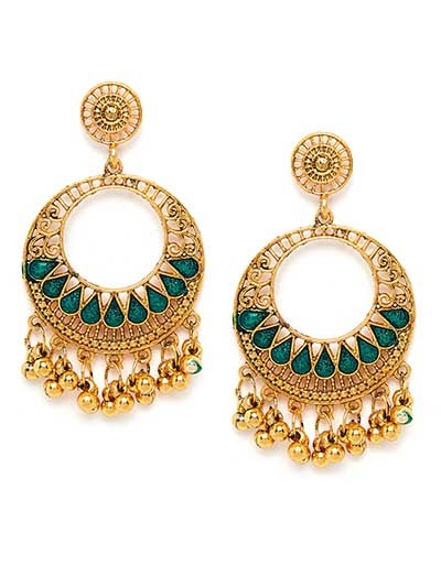 Golden and Green Circular Ethnic Dangle Earrings