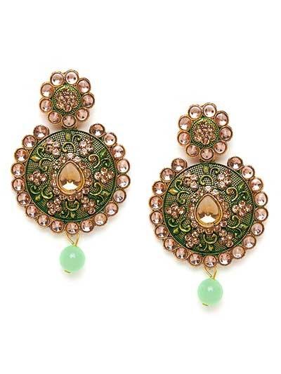 Green Floral Ethnic Earrings For Women