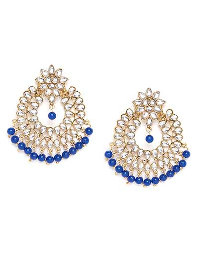 Golden and Blue Chandbali Kundan Earrings