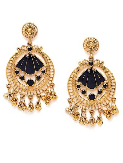 Golden and Blue Circular Ethnic Dangle Earrings
