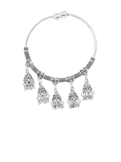 Adjustable Oxidized Silver Bracelet with Jhumka Charms