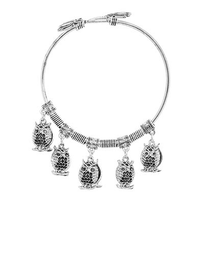 Adjustable Oxidized Silver Bracelet with Owl Charms