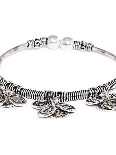 Adjustable Oxidized Silver Bracelet with Moon Charms